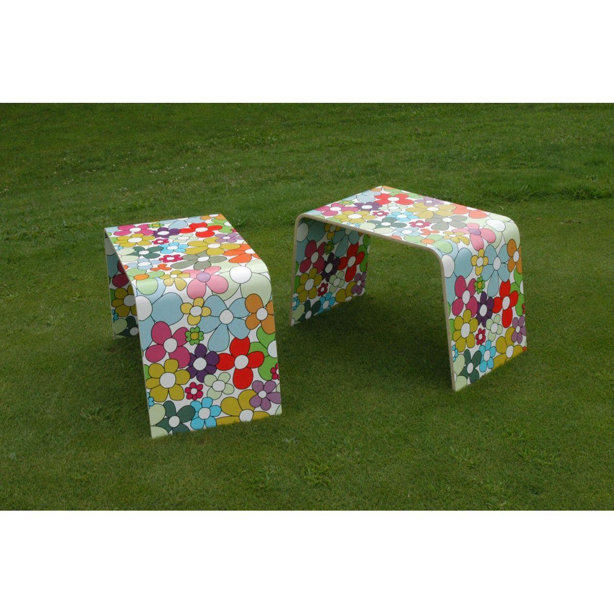 Tavolini bassi monoscocca di faggio rivestito con artwork floreale multicolore