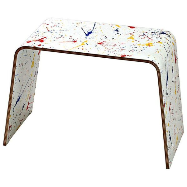 Tavolino basso monoscocca di faggio rivestito con artwork colorato ispirato a Pollo