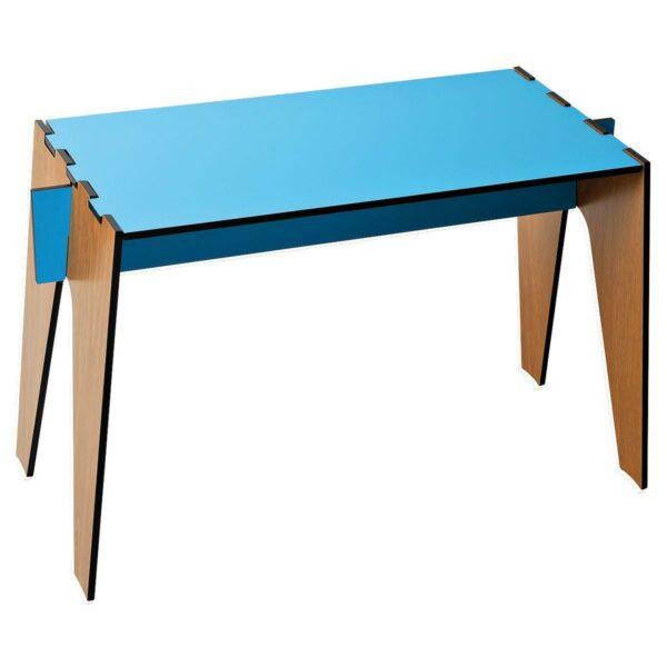 Tavolino basso composto a incastro da quattro pezzi intercambiabili colore azzurro e rovere