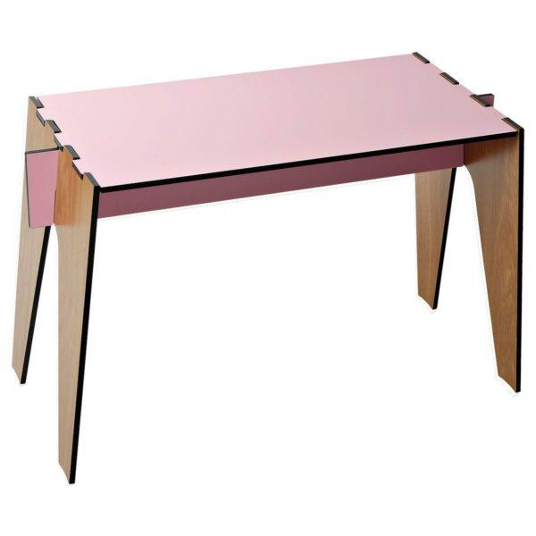 Tavolino basso composto a incastro da quattro pezzi intercambiabili colore rosa e rovere