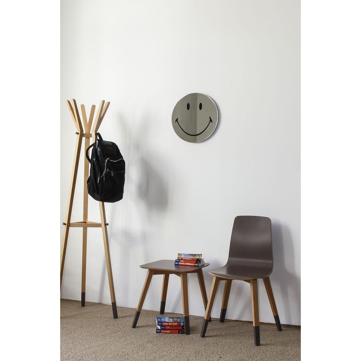 Tavolino basso in faggio con ripiano quadrato di colore grigio