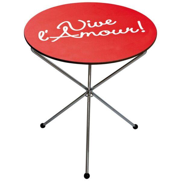 Tavolino basso colore rosso circolare con testo Vive l'Amour