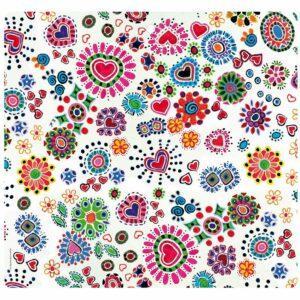 Tovaglietta in PET rossa con cuori e fiori colorati