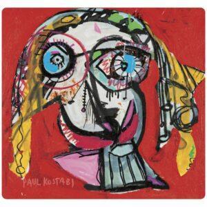 Tovaglietta in PET rossa con artwork di Kostabi
