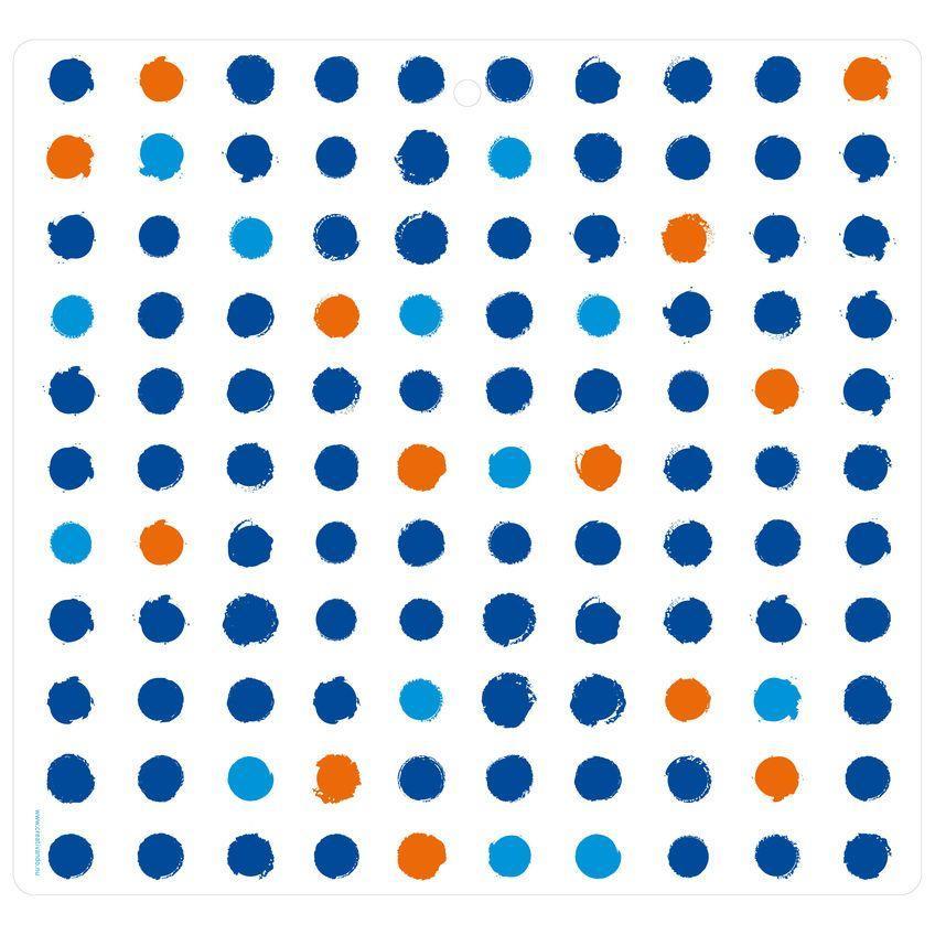 Tovaglietta in PET bianca con texture a pois azzurri, arancioni e blu