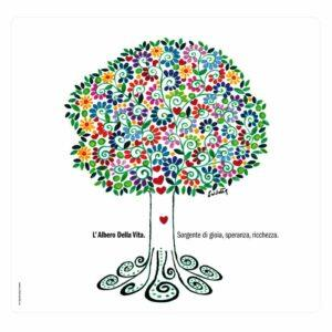 Tovaglietta in PET bianca con artwork di albero