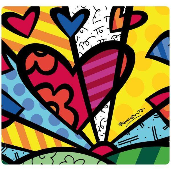 Tovaglietta in PET bianca con grafica colorata a forma di cuore