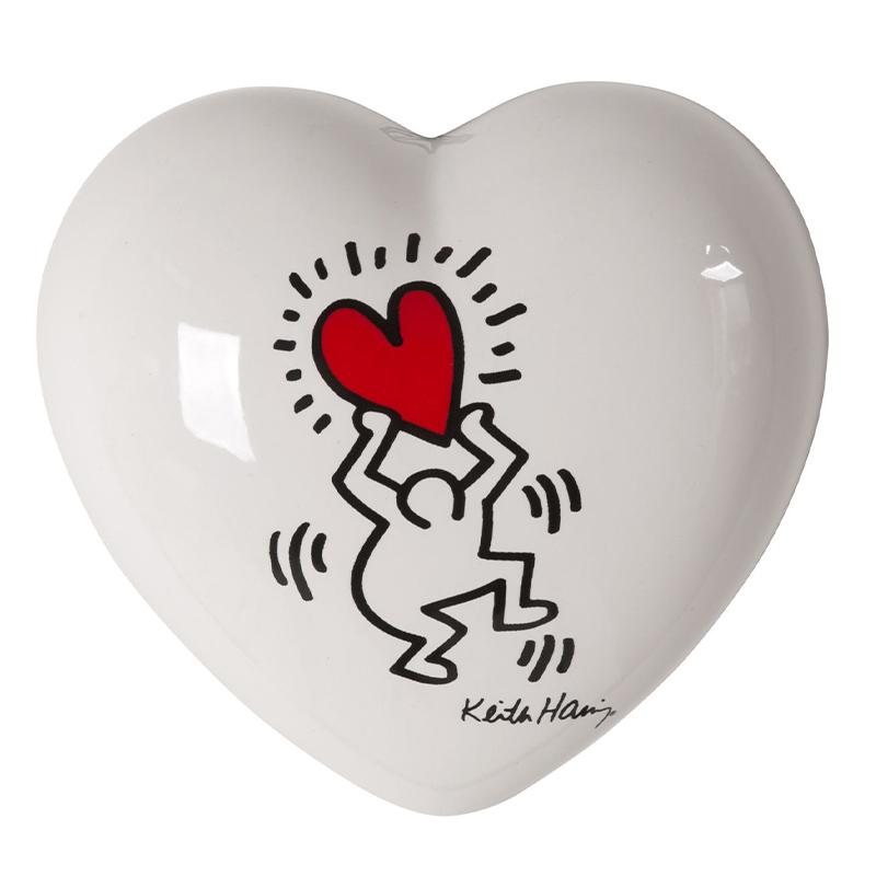 Cuore di ceramica bianco con grafica di Keith Haring