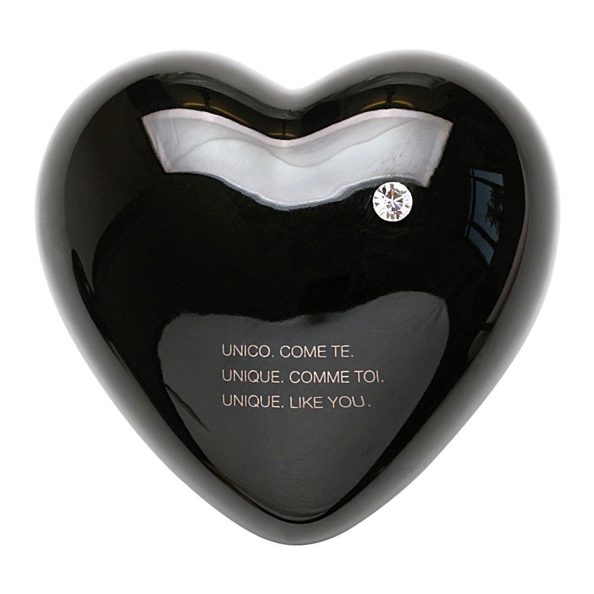 Cuore di ceramica nero con grafica e testo di Laura Ellero