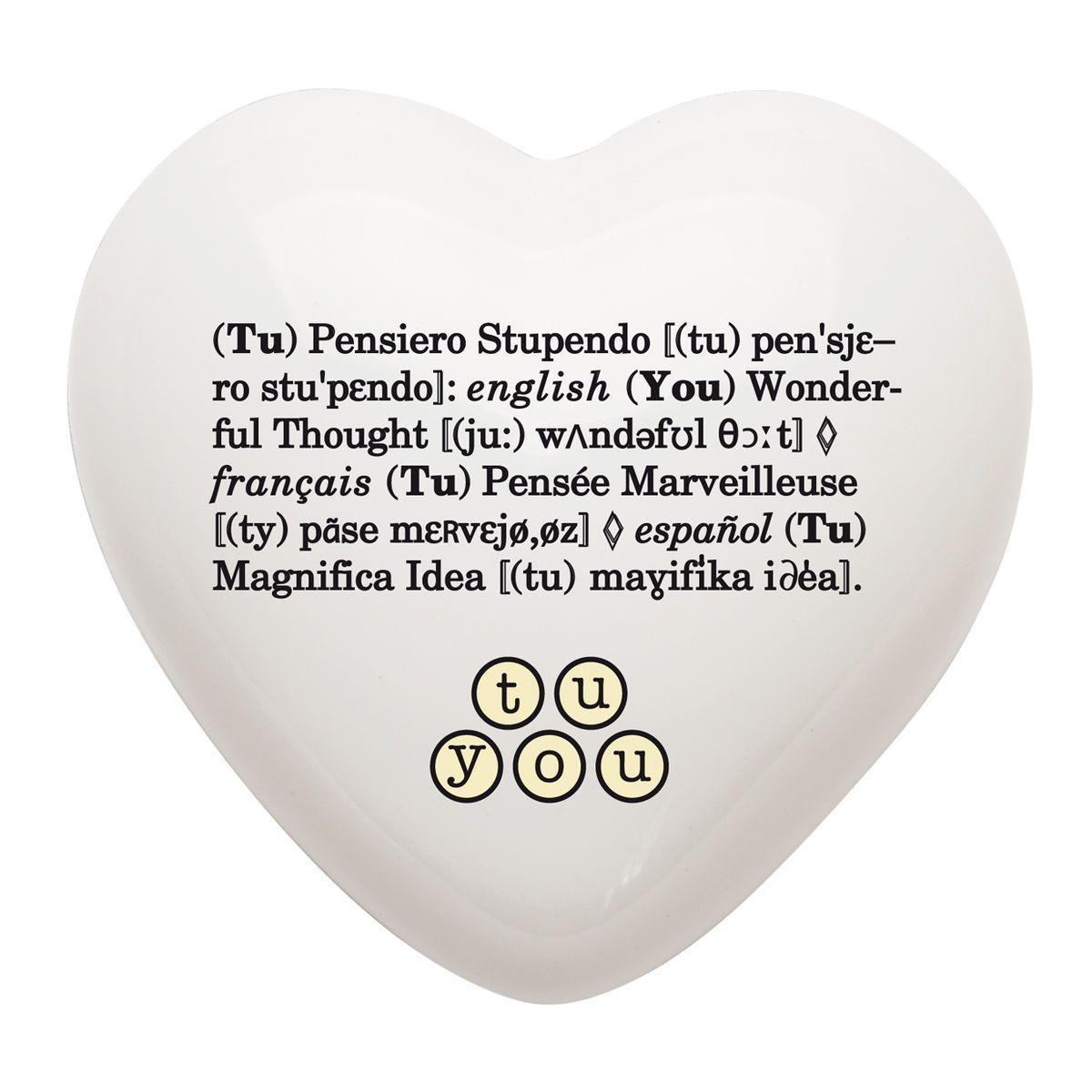 Cuore di ceramica bianco con grafica di Cinzia Pascutto