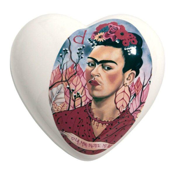 Cuore di ceramica bianco con ritratto di Frida Kahlo