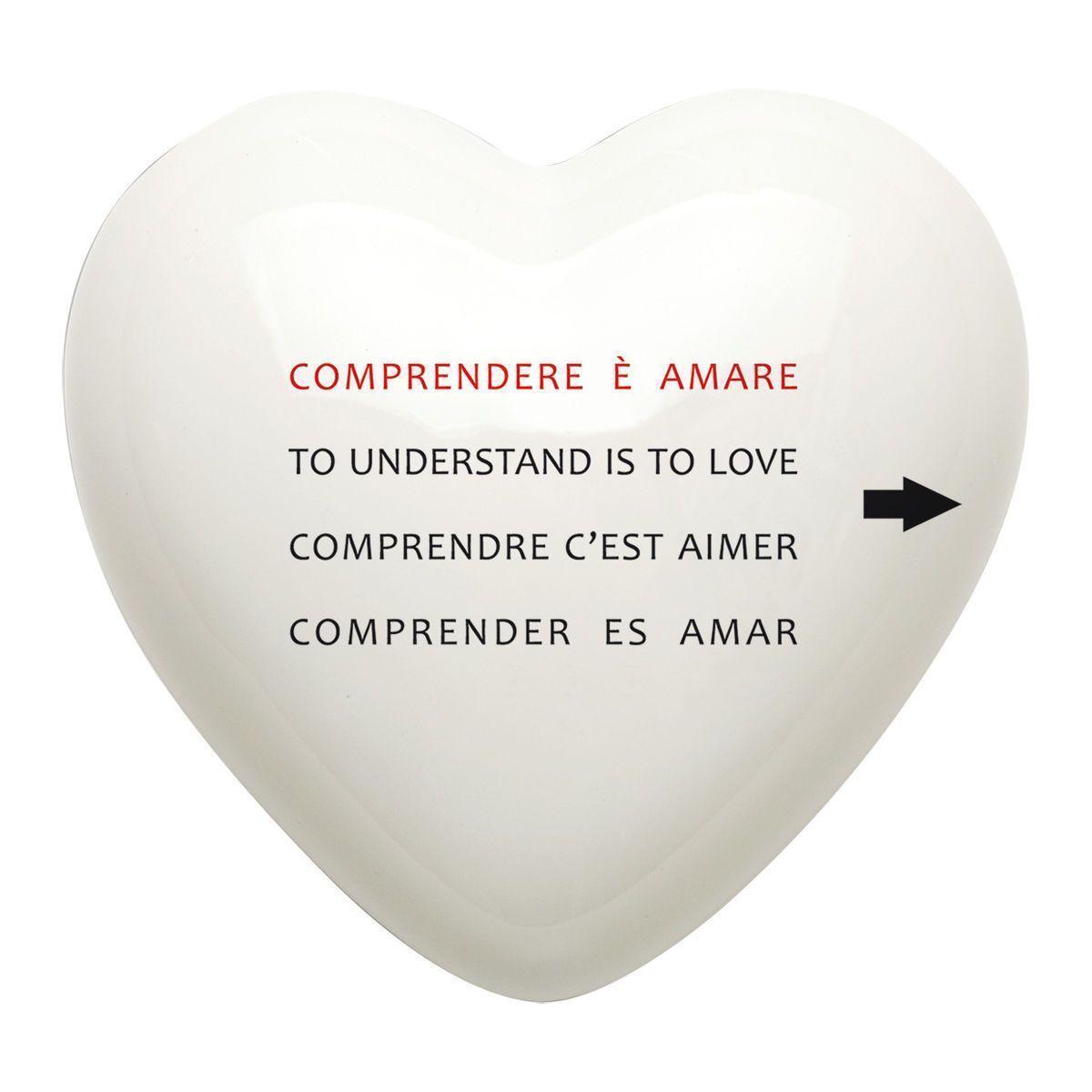 Cuore di ceramica bianco con testo di Mauro Bassani