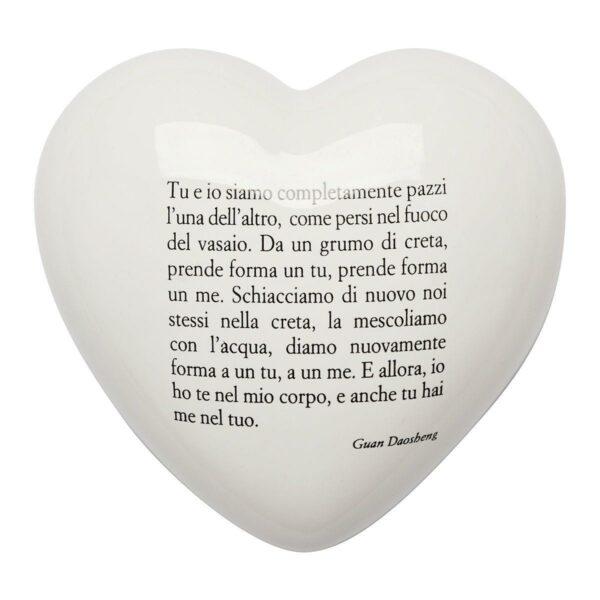 Cuore di ceramica bianco con poesia di Guan Daosheng