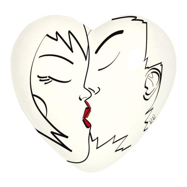 Cuore di ceramica bianco con grafica di Katrin Komjanc