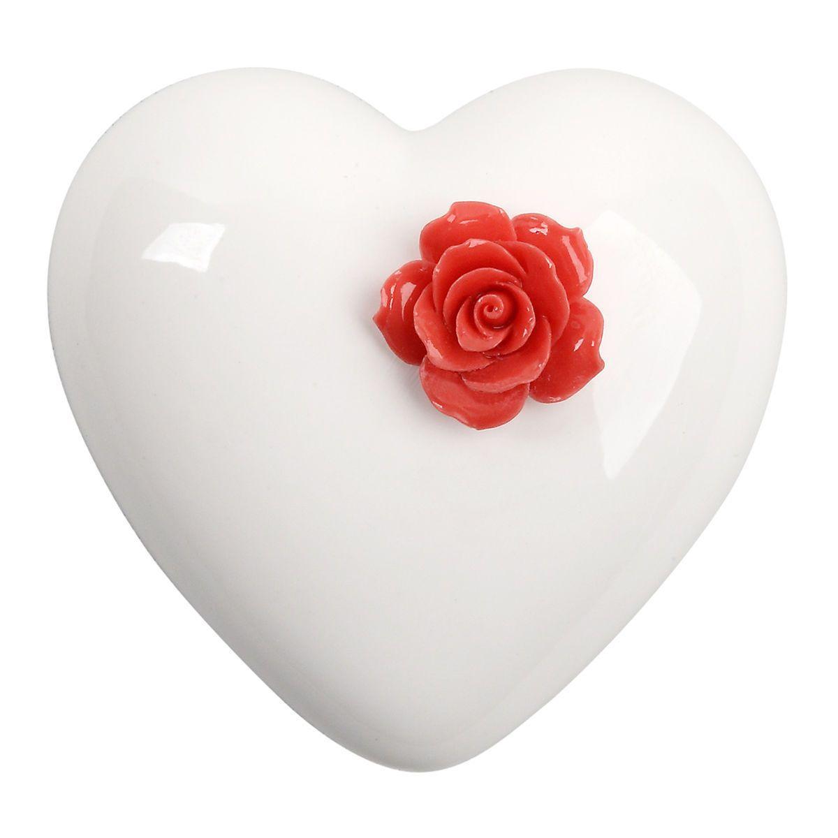 Cuore di ceramica bianco con rosa rossa in resina