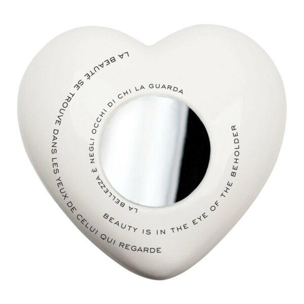 Cuore di ceramica bianco e vetro con grafica di Renzo Schiratti