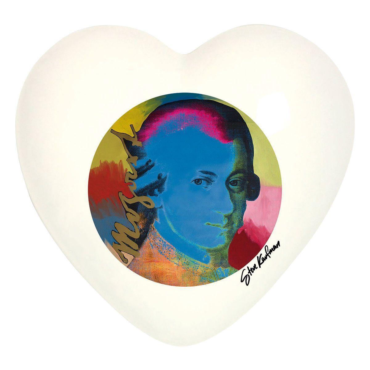 Cuore di ceramica bianco con grafica di Steve Kaufman