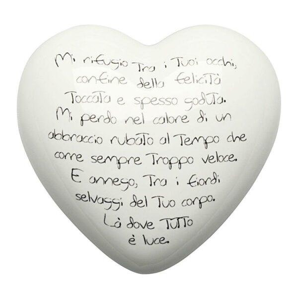 Cuore di ceramica bianco con versi in italiano e francese di Mauro Bassani