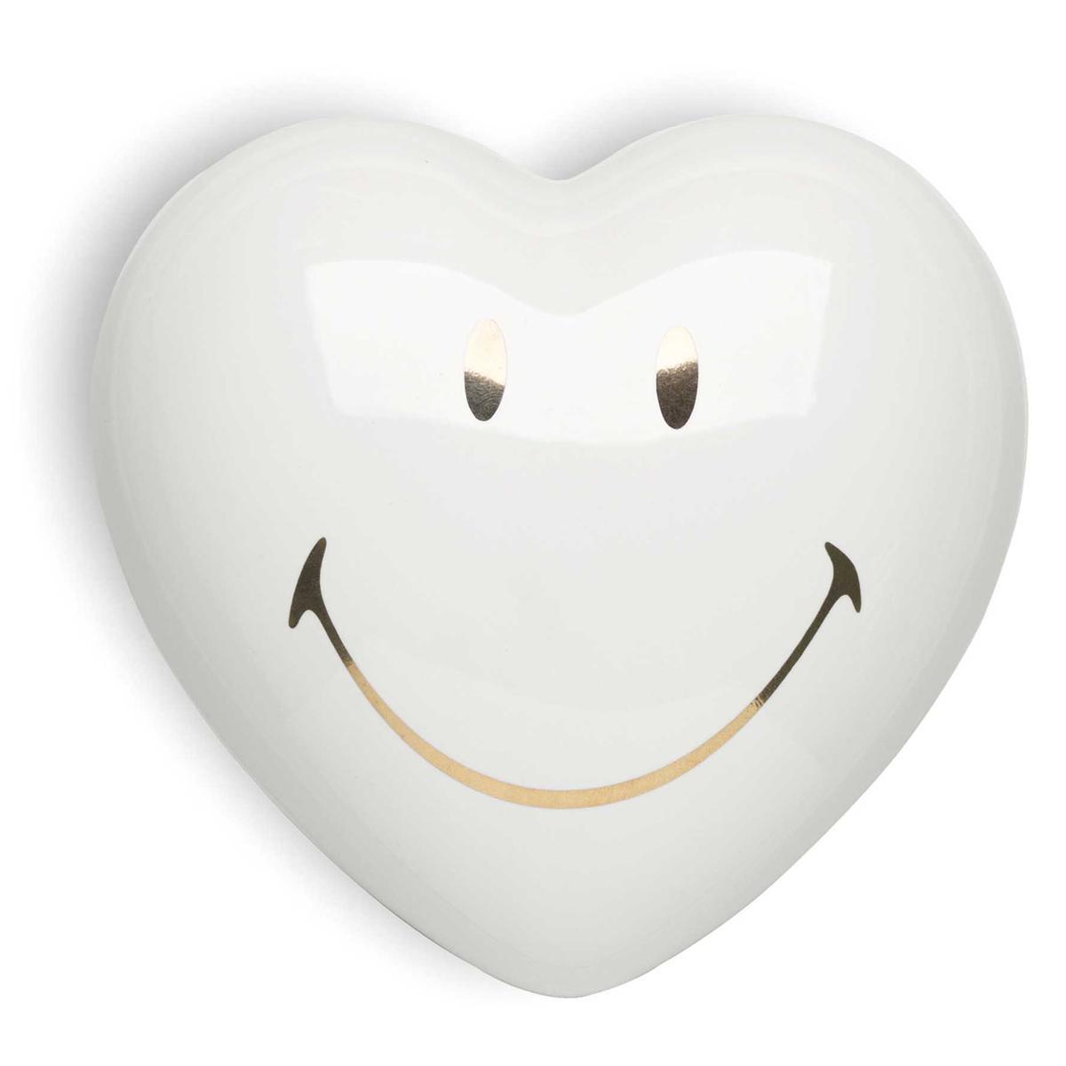 Cuore di ceramica bianca con immagine Smiley certificata in oro