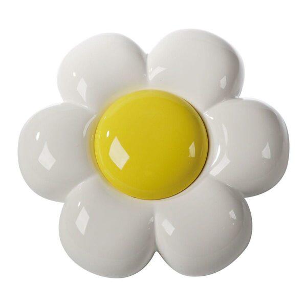 Decorazione da parete in ceramica a forma di fiore bianco con grande capolino giallo