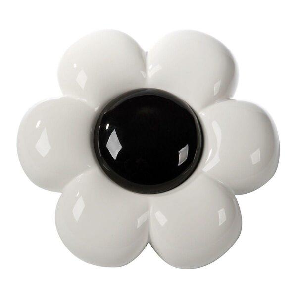 Decorazione da parete in ceramica a forma di fiore bianco con grande capolino nero