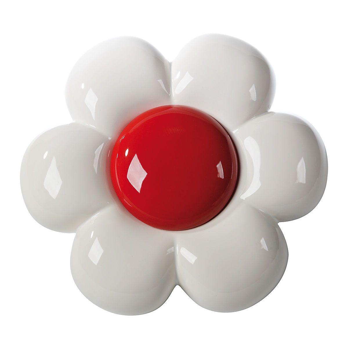 Decorazione da parete in ceramica a forma di fiore bianco con grande capolino rosso