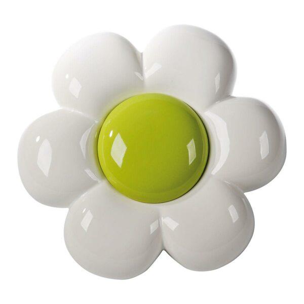 Decorazione da parete in ceramica a forma di fiore bianco con grande capolino verde