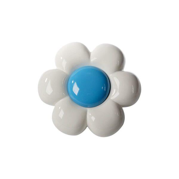 Decorazione da parete in ceramica a forma di fiore bianco con grande capolino azzurro