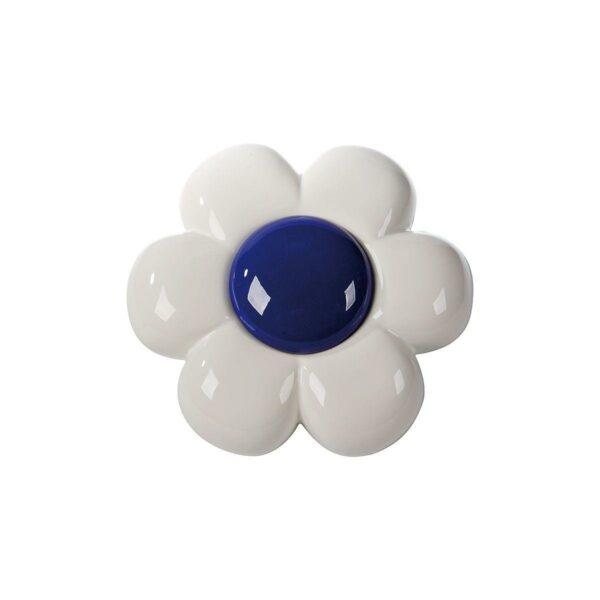 Decorazione da parete in ceramica a forma di fiore bianco con grande capolino blu