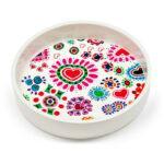 Contenitore multiuso in ceramica bianca con fondo removibile in PET con grafica di Erichetta Novello