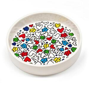 Contenitore multiuso in ceramica bianca con fondo removibile in PET con grafica di C.B. Farinar
