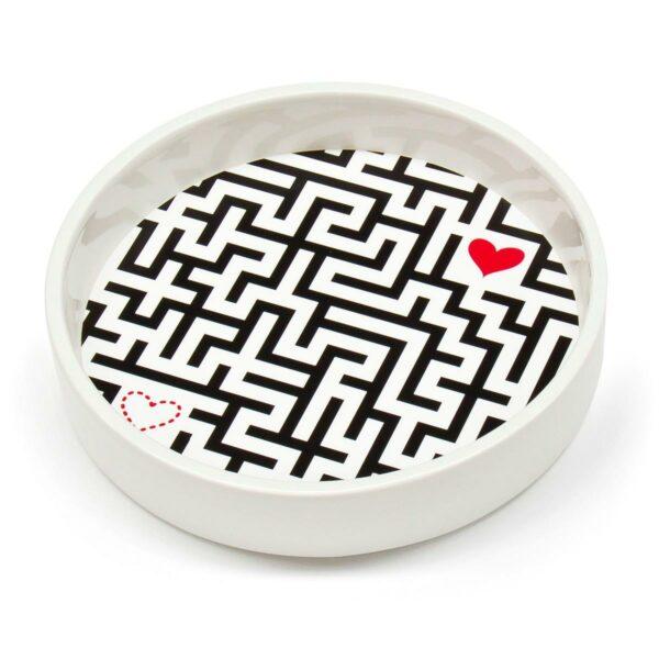 Contenitore multiuso in ceramica bianca con fondo removibile in PET con grafica di Manuel Stefanutti