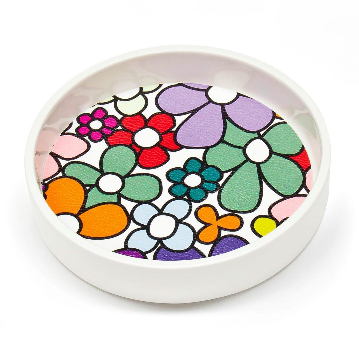 Contenitore multiuso in ceramica bianca con fondo removibile in PET con grafica di Carlo Muttoni
