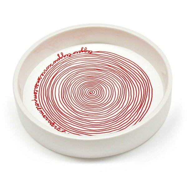 Contenitore multiuso in ceramica bianca con fondo removibile in PET con grafica di Laura Leita