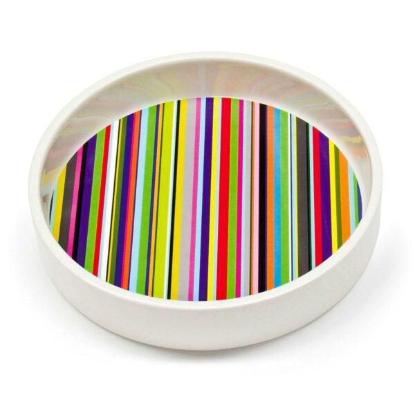 Contenutore multiuso in ceramica bianca con fondo remobibile in PET con grafica di
