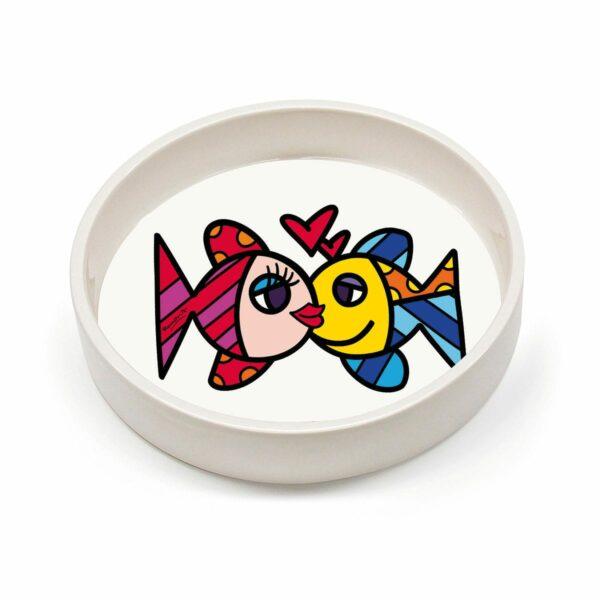 ciotola svuotatasche in ceramica bianca decorata con un disegno di Romero Britto raffigurante i pesci