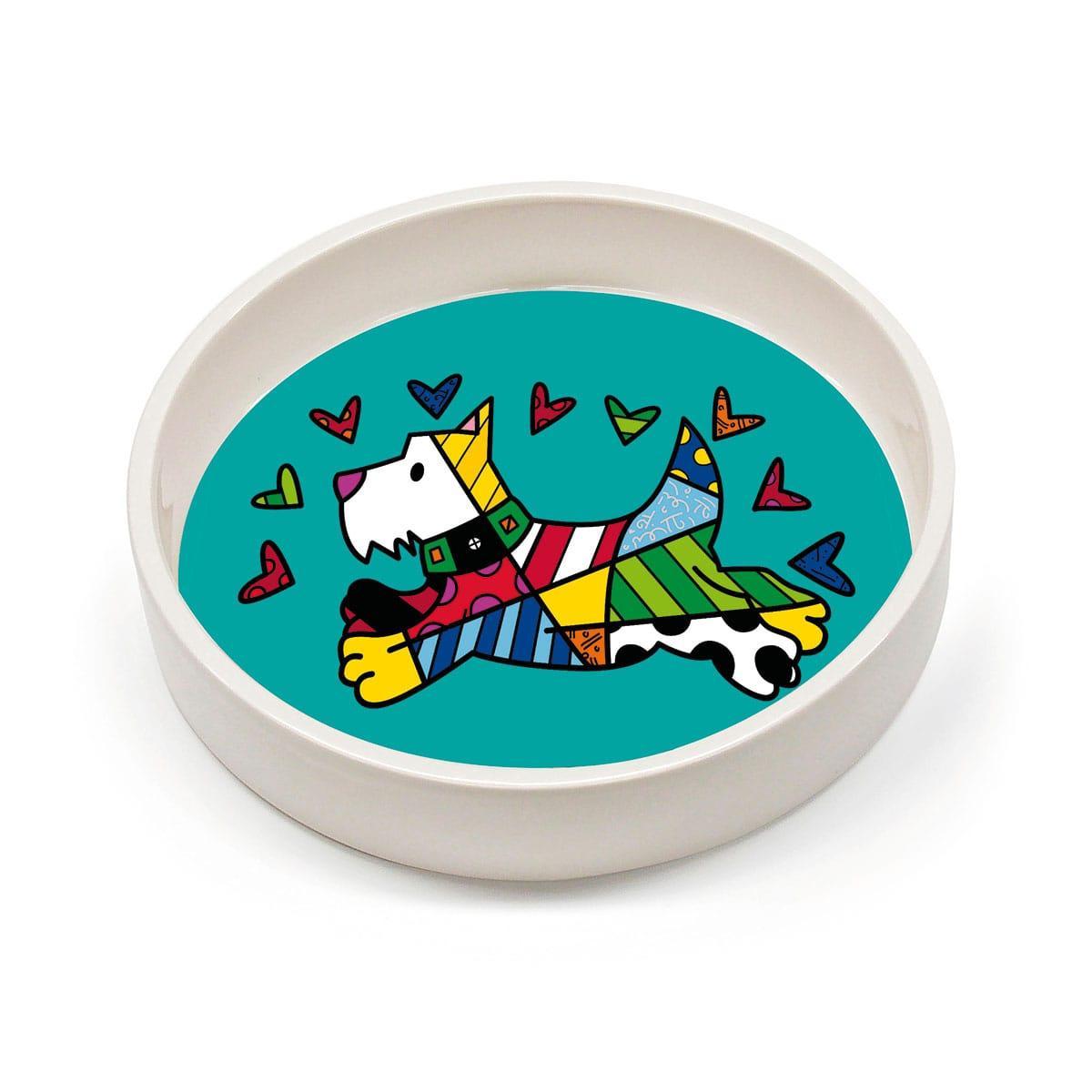 ciotola svuota tasche contenitore multiuso totò in ceramica bianca con disco al centro removibile stampato con un opera artistica di Romero Britto raffigurante un cane stilizzato con tanti cuoricini