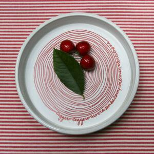ciotola in ceramica bianca con fondo disco in pet stampato con grafica a spirale rossa