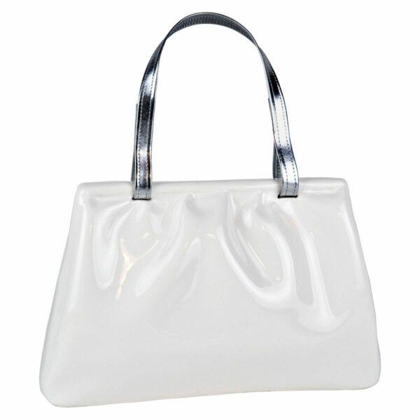 Umidificatore per termosifone in ceramica a forma di borsetta di colore bianco