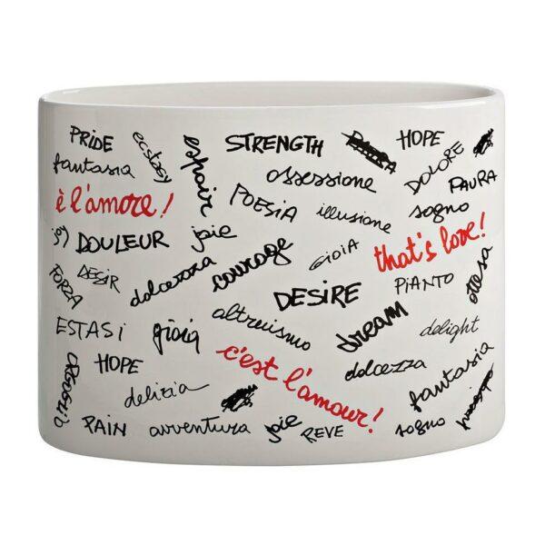 Vaso ovale in ceramica smaltata bianco con scritte parole sull'amore in nero e rosso