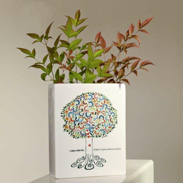 vaso in ceramica rettangolare con artwork tema albero della vita