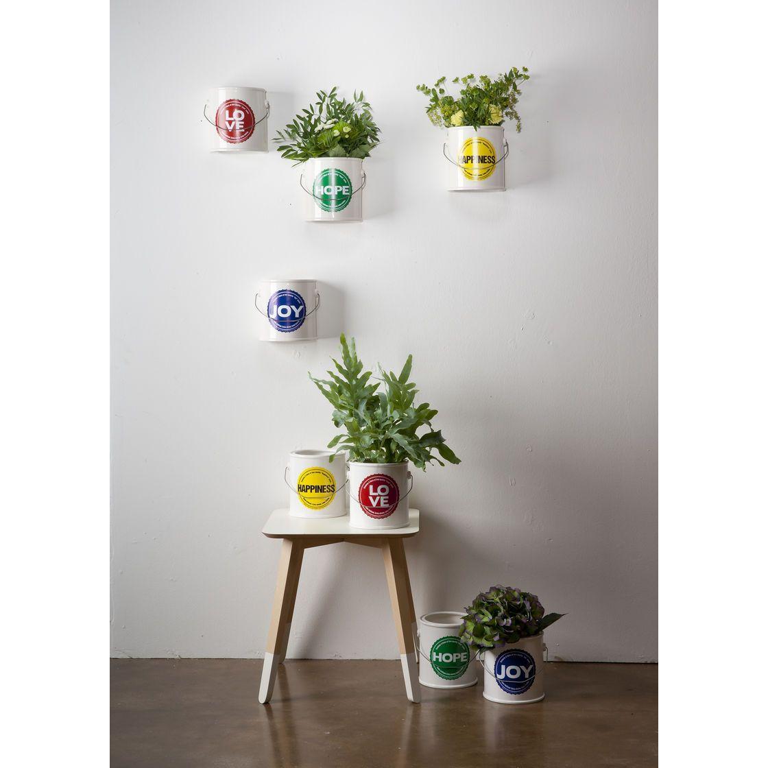 Vasi in ceramica bianca a forma di barattolo di vernice con etichetta colorate