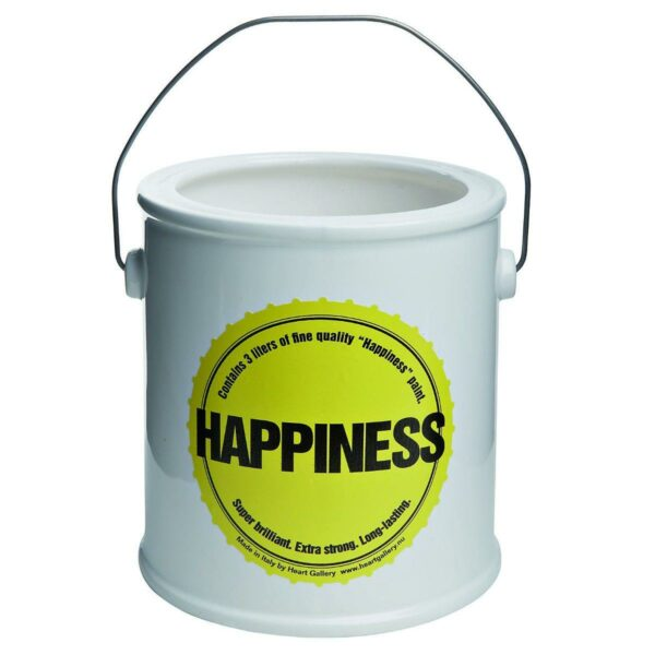 Vaso in ceramica bianca a forma di barattolo di vernice con etichetta gialla testo Happiness
