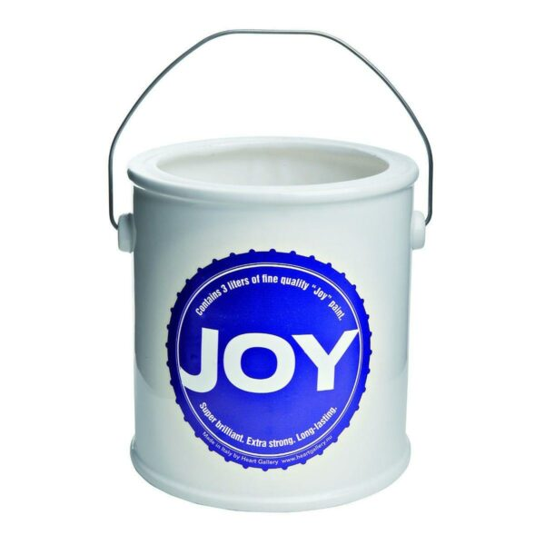 Vaso in ceramica bianca a forma di barattolo di vernice con etichetta blu testo Joy