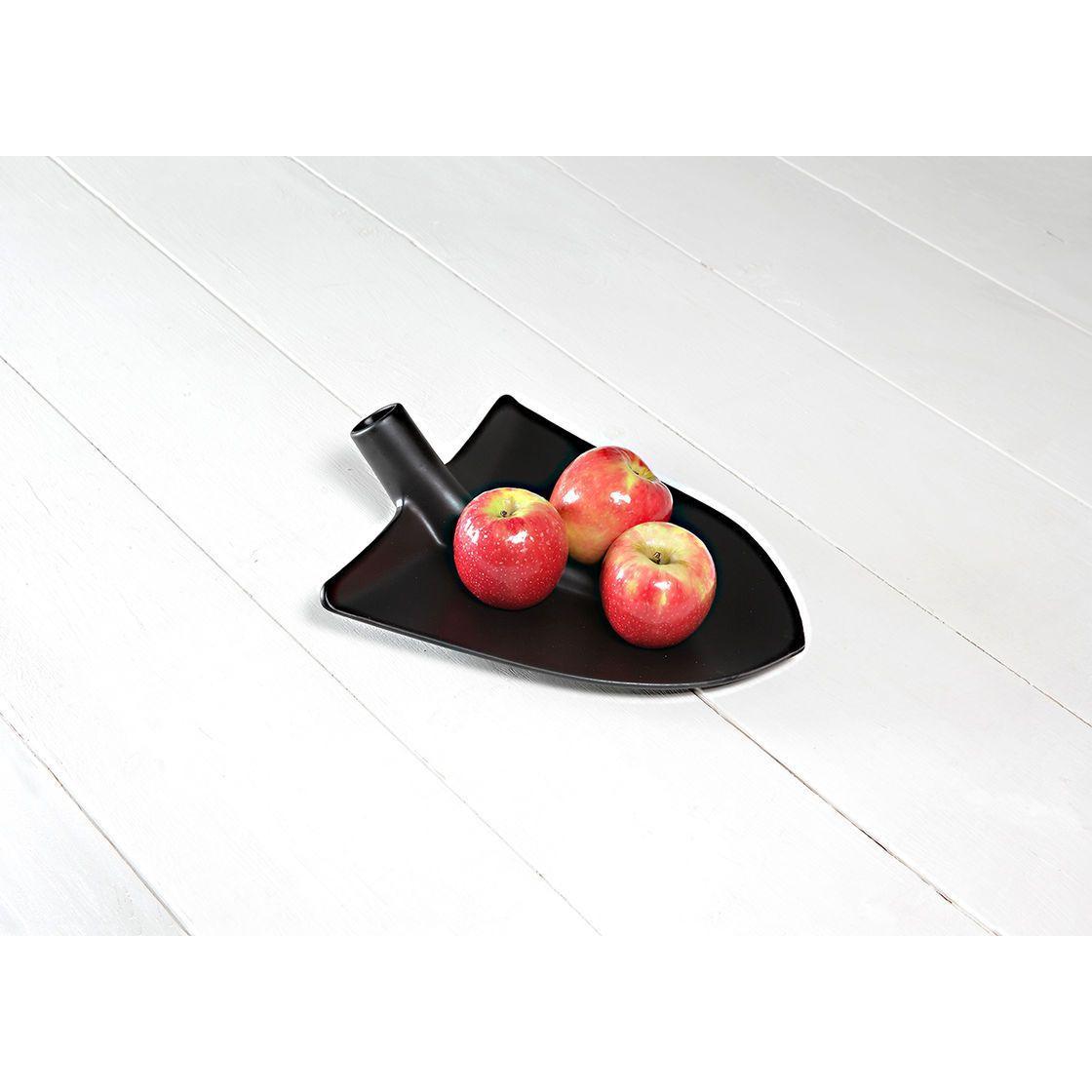 Portafrutta in ceramica nera opaca a forma di pala