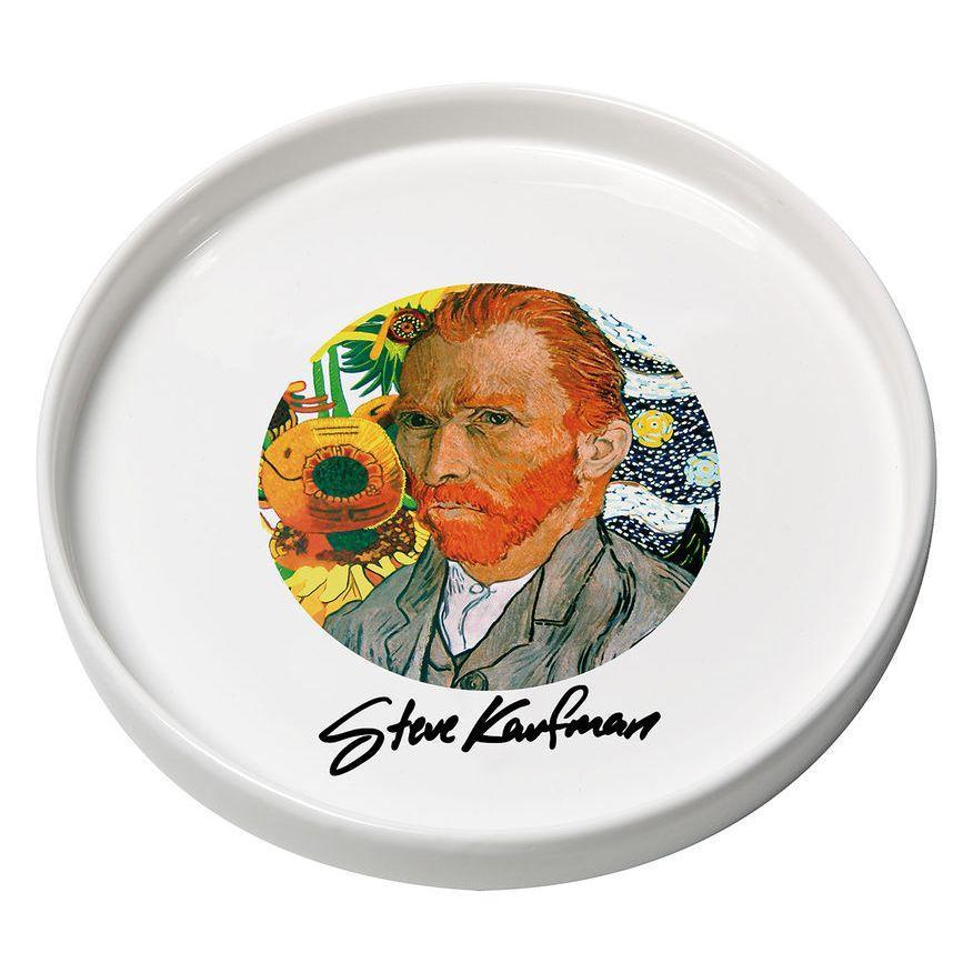 Vassoio in ceramica bianco con immagine