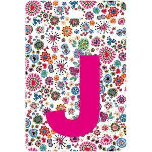 Etichetta bagaglio con lettera alfabeto bianca su sfondo fantasia cuori e fiori colorati con iniziale J