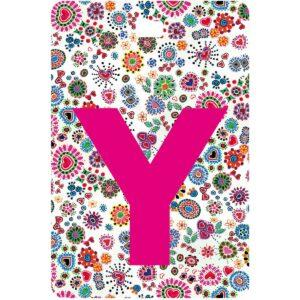 Etichetta bagaglio con lettera alfabeto bianca su sfondo fantasia cuori e fiori colorati con iniziale Y