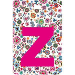 Etichetta bagaglio con lettera alfabeto bianca su sfondo fantasia cuori e fiori colorati con iniziale Z