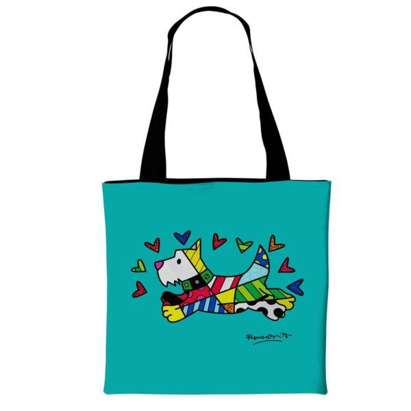 borsa di tipo tote bag in morbida ecopelle verde con grafica di cane stilizzata di Romero Britto